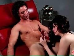 Sexy Brunette Hungrily Slurps Lover`s Boner 4